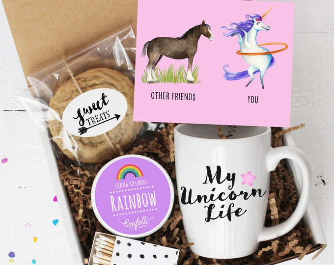 Best Friend Gift Box - Unicorn Gift | My Unicorn Life | Best Friend | Birthday Gift | Gift For Her | Rainbow Candle | Thinking of You |