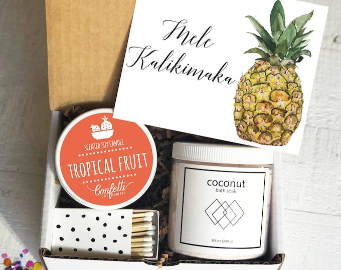 Mele Kalikimaka Gift Box-  Christmas Gift Box | Holiday Candle | Holiday Hostess Gift | Send a Holiday Gift | Christmas Hostess Gift