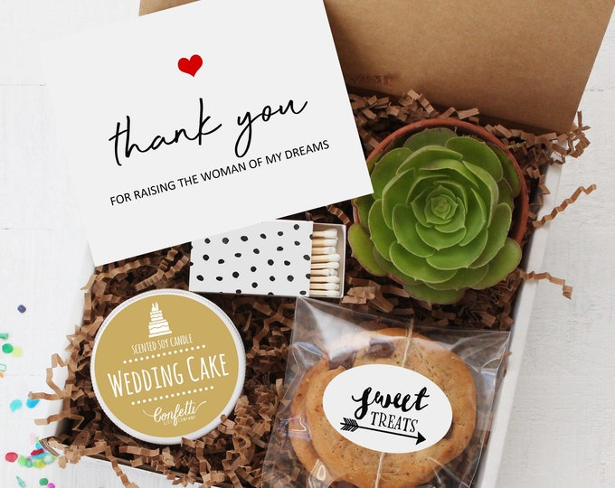 Parents Of The Bride Gift Box - Thank You For Raising The Woman Of My Dreams | Mother Of The Bride Gift | Father Of The Bride Gift