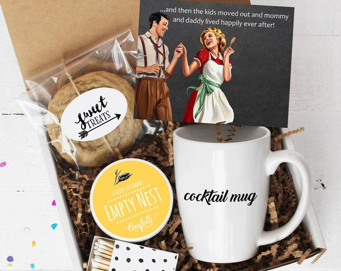 Empty Nest Gift Box - Empty Nesters | Thinking of You | Kids Moved Out | Kids At College | Celebration  | Empty Nest Candle | Cocktail Mug