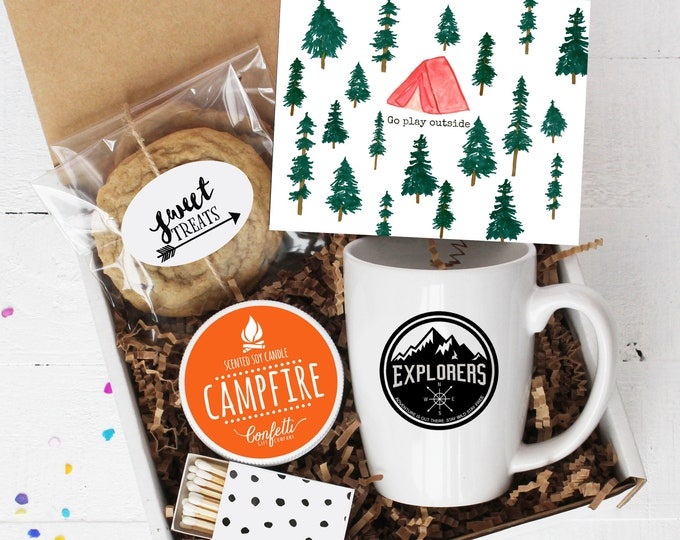 Go Play Outside Gift Box - Happy Camper |  Father's Day Gift | Birthday Gift  | Outdoor Gift | Gift For Camper | Gift For Dad | Camping