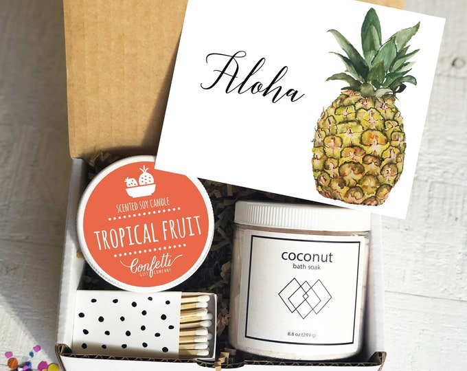 Aloha Gift Box | Thinking of You Gift | Friend Gift | Best Friend Gift | Spa Gift Box | Tropical Gift Set | Gift for Her | Ship a Gift
