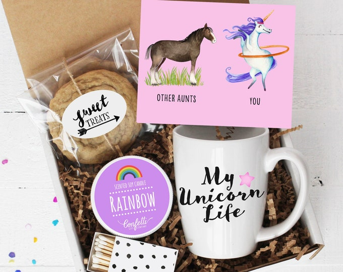 Gift For Aunt - Unicorn Gift | My Unicorn Life | Aunt Gift  | Gift For Her | Rainbow Candle | Thinking of You | Aunt Thank You