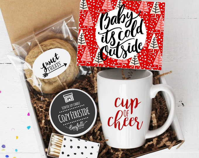 Baby It's Cold Outside Gift Box | Holiday Gift | Christmas Gift | Coworker Gift | Client Gift | Cup of Cheer Mug | Holiday Candle
