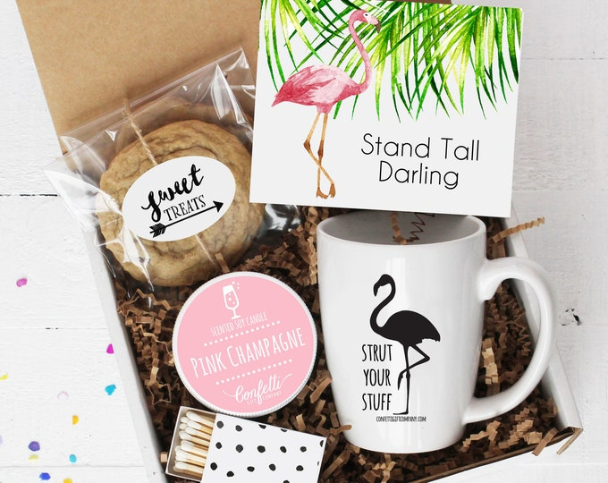 Stand Tall Darling Gift Box - Support Gift | Thinking of you Gift | Friend Gift | Congratulations Gift | Flamingo Card | Encouragement Gift