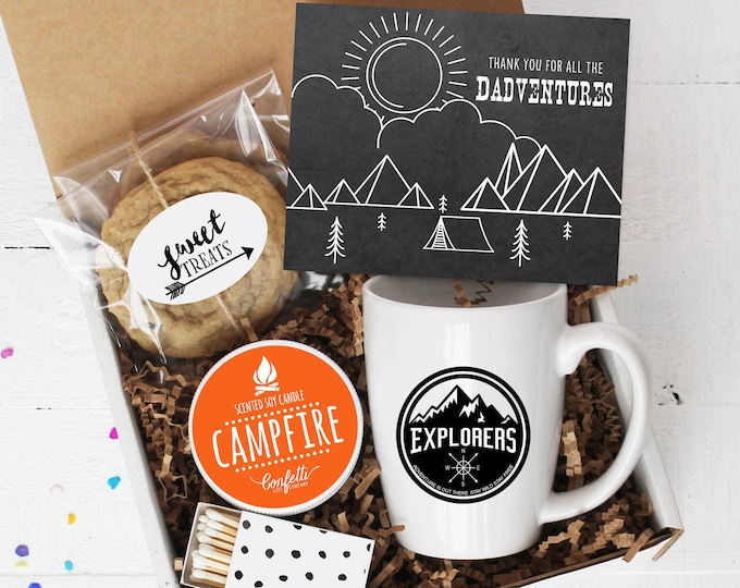 Father's Day Gift Box| Thank You For All The Dadventures Gift Box | Gift For Dad | Campfire Candle |  Explorer Mug | Adventure Gift
