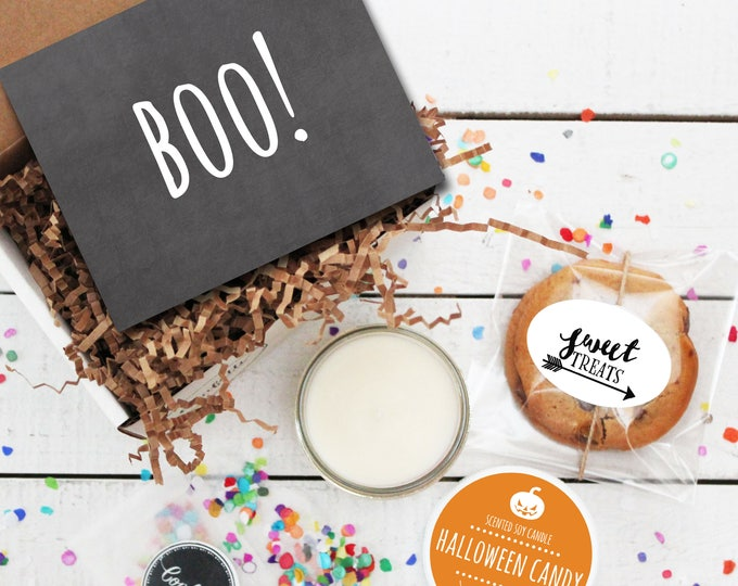 Mini Halloween Gift Box - BOO! Card Design - Send a Halloween Gift | Halloween Treat | Halloween Card | Halloween Candle | Halloween Cookies