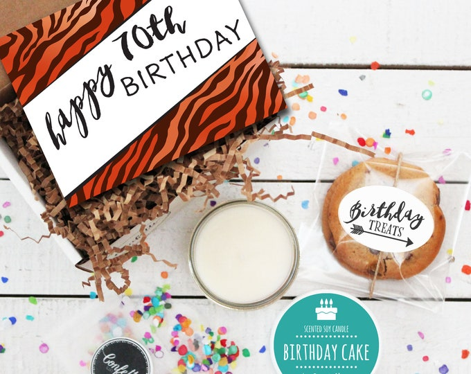 Mini Happy 70th Birthday Gift Box - Milestone Birthday | Send a Birthday Gift | Birthday in a Box | Friend Gift | 70th Birthday Card