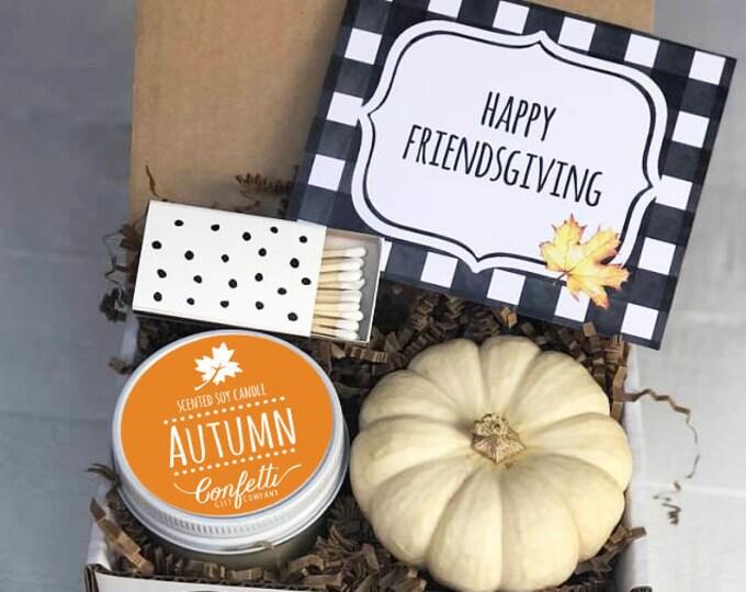 Mini Happy Friendsgiving Gift Box - Send a Fall Gift | Friendsgiving Gift  | Autumn Candle |  Best Friend Gift | Hostess Gift