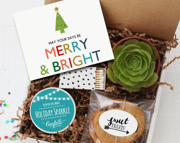 Merry And Bright Gift Box | Christmas Gift | Corporate Holiday Gift | Succulent Gift Box | Holiday Gift | Secret Santa | Holiday Candle