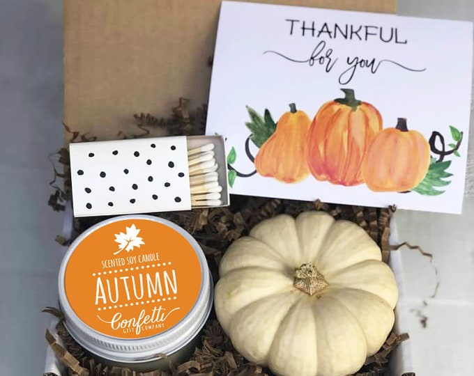 Mini Thankful For You Gift Box - Send a Fall Gift | Thanksgiving Gift | Thanksgiving Card | Autumn Candle | Easy Fall Gift | Hostess Gift