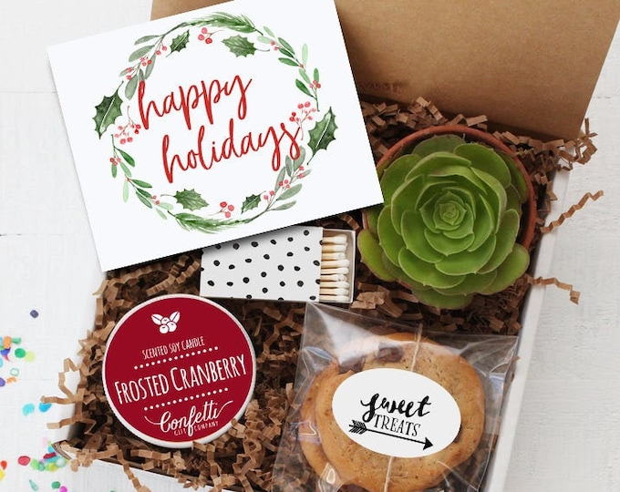 Happy Holidays Gift Box | Christmas Gift | Corporate Holiday Gift | Succulent Gift Box | Holiday Gift | Secret Santa | Happy Holidays Card