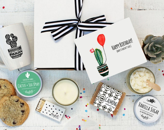 Happy Birthday Hope It Doesn't Succ - The Works | Birthday Gift Box | Succulent Gift | Cactus Mug | Cactus and Seaspray Candle |Spa Gift Box