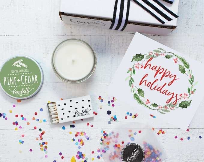 Christmas Candle | Happy Holidays Gift Box | Holiday Gift | Christmas Gift | Send A Candle | Holiday Candle | 20 Dollar Gift