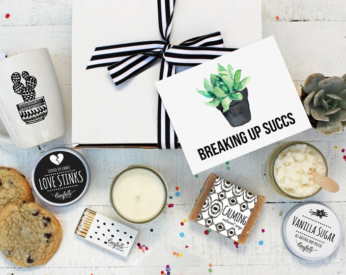 Breaking Up Succs Gift Box- The Works | Break Up Gift | Thinking of You Gift | Friend Gift | Condolence Gift | Succulent Gift | Spa Gift Set