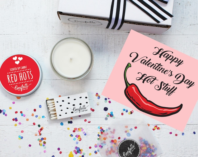 Valentine's Day Gift Box - Happy Valentine's Day Hot Stuff | Girlfriend Gift | Boyfriend Gift | 20 Dollar Gift | Send A Candle | Red Hots
