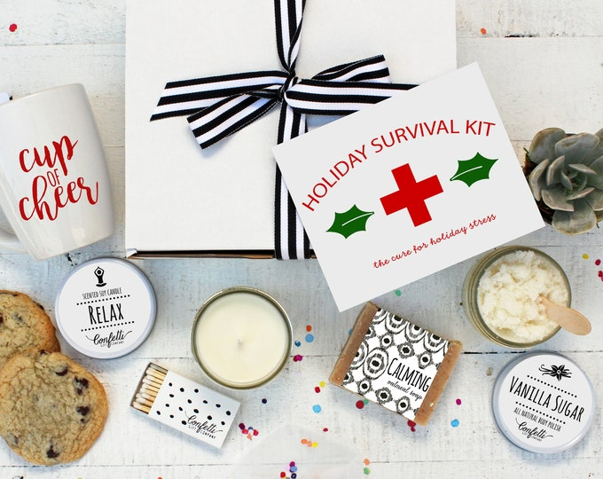 Holiday Survival Kit - Holiday Stress Spa Gift | Spa Holiday Gift Set | Christmas Gift Box | Funny Holiday Gift | Unique Christmas Gift