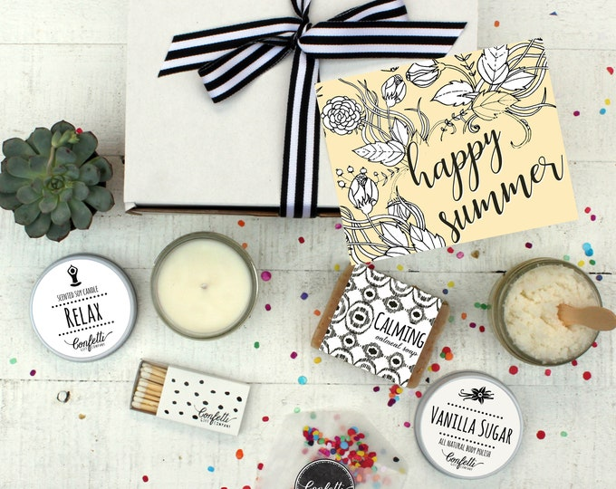 Happy Summer - Spa Gift Set | Teacher Appreciation Gift | Thinking of You Gift  | Send a Gift | Gift for her | Pamper Gift Set | Relax Gift