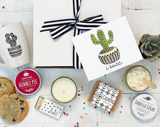 I Succ Gift Box- The Works | Apology Gift | Thinking of You Gift | I'm Sorry Gift | Friend Gift | I Suck | Succulent Gift Box | Spa Gift Set