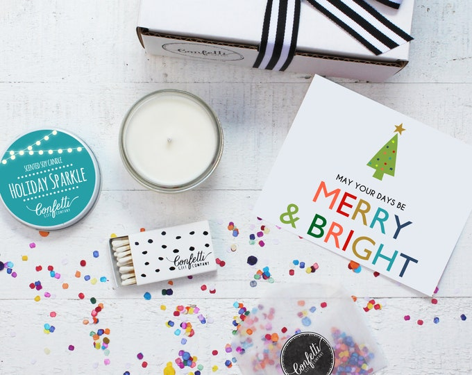 Christmas Candle | Merry and Bright Gift Box | Holiday Gift | Christmas Gift | Send A Candle | Holiday Candle | 20 Dollar Gift | Candle Gift