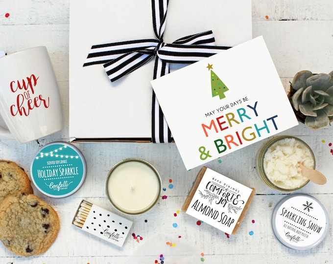 Christmas Gift Box - The Works | May Your Days Be Merry and Bright Gift Box |  Spa Gift Set | Holiday Gift  | Send a Gift | Cup of Cheer