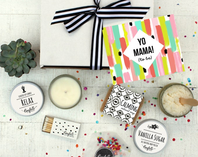 Yo Mama To Be  - Spa Gift Set   Pregnancy Gift   New Mom Spa Box   Expecting Mom Gift   Friend Gift   Baby Shower Gift   Pamper Gift