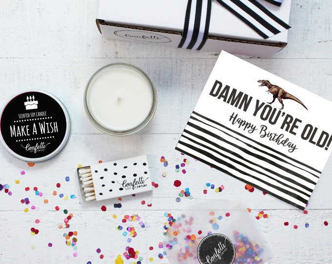 Birthday Candle | Damn You're Old Gift Box | Birthday Gift | Over The Hill Gift | Send A Candle | Make A Wish Candle | 20 Dollar Gift
