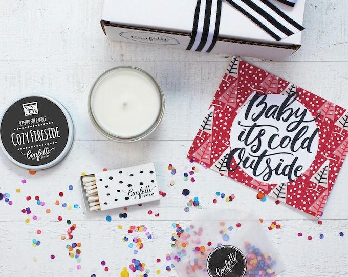 Christmas Candle | Baby It's Cold Outside Gift Box | Holiday Gift | Christmas Gift | Send A Candle | Holiday Candle | 20 Dollar Gift