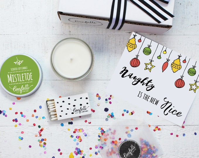 Christmas Candle | Naughty is the New Nice Gift Box | Holiday Gift | Christmas Gift | Send A Candle | Holiday Candle | 20 Dollar Gift
