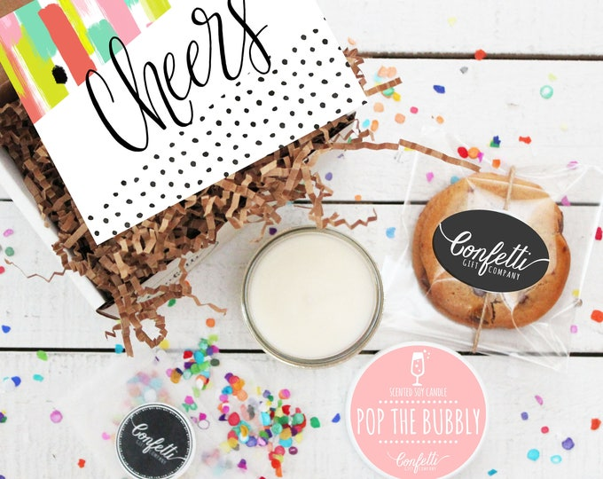 Mini Cheers Gift Box - Congratulations Gift   Pop the Bubbly   Celebration Gift   Wedding Gift   Congratulations Card