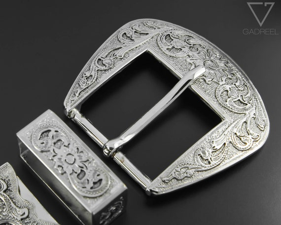 """25 mm 1/"""" Prong Belt Buckle Silver Nickle Free Strap Leather Rodeo Costume New"""