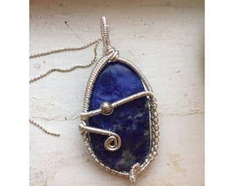 Wire wrapped Sodalite pendant