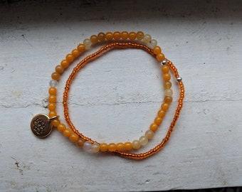 Orange Jade Bracelet Set with Lotus Flower Charm
