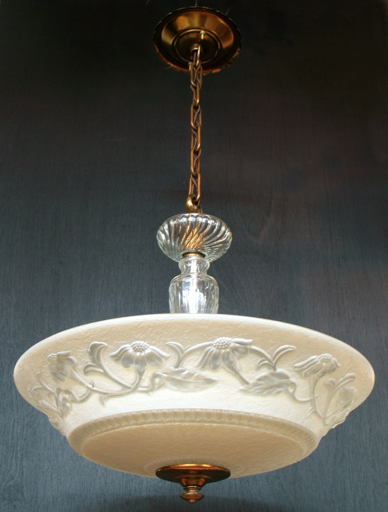 Antique lighting circa 1930s four light glass centre post chandelier with 16 shade