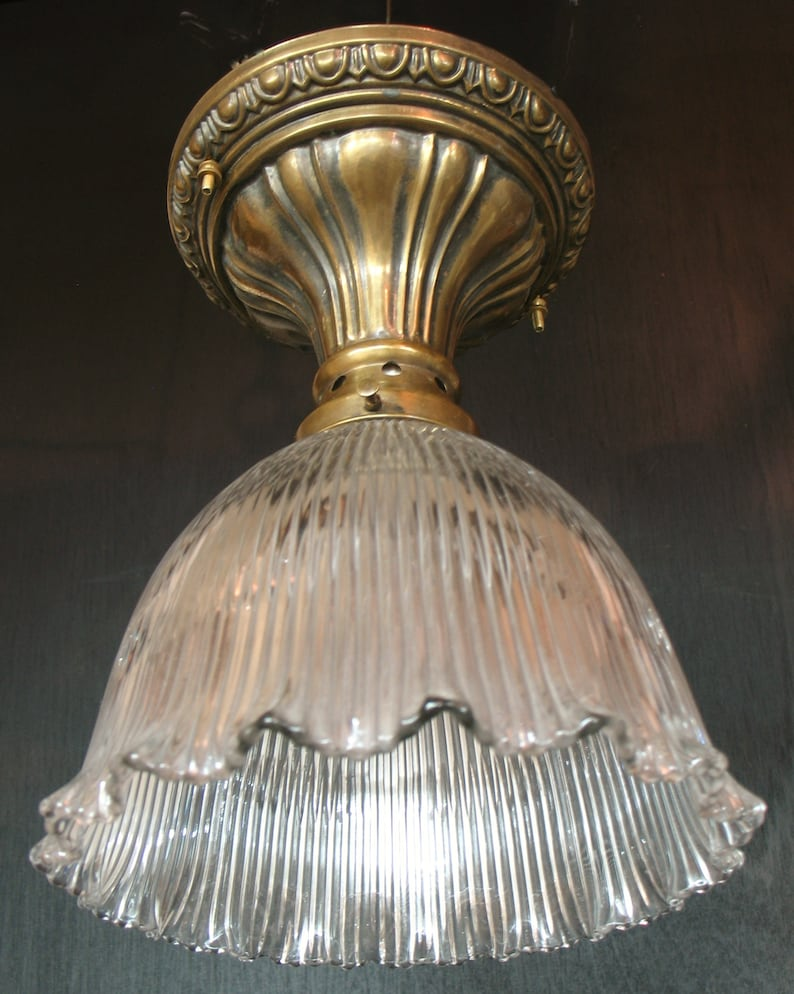 Antique lighting early 1900s brass semi flush ceiling light with genuine holophane glass shade