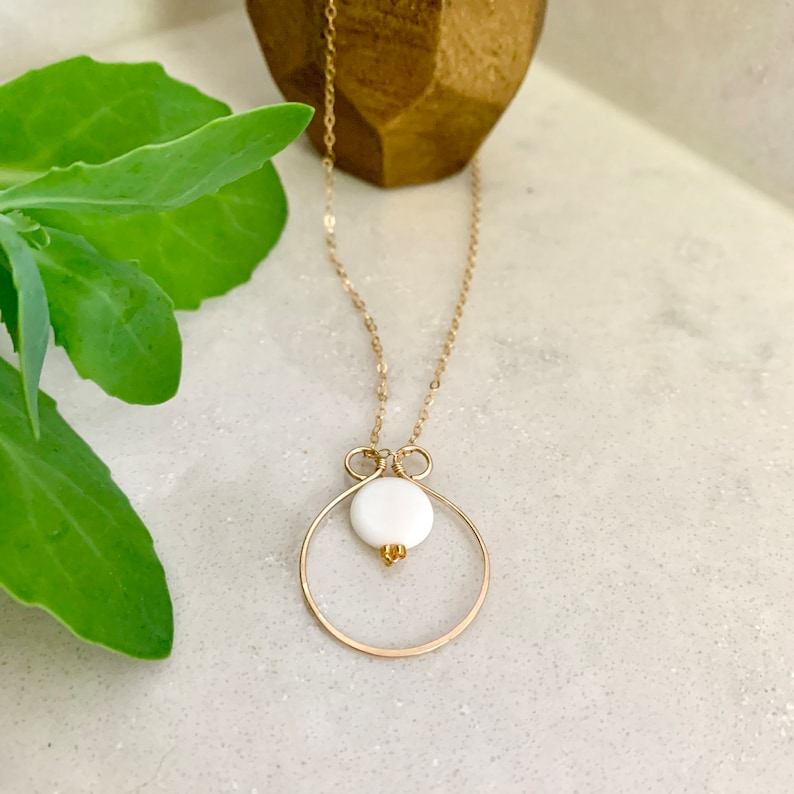 Circle Pendant Gift for Her Sun and Moon Necklace Delicate Gold Hammered Necklace