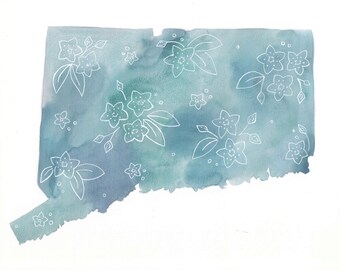 Connecticut Watercolor Map Art, State Wall Art, Watercolor Print, Travel Art