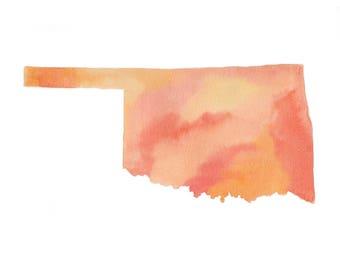 Orange Watercolor Oklahoma Map Print, Watercolor Map Art Print, Map of Oklahoma, Watercolor Art