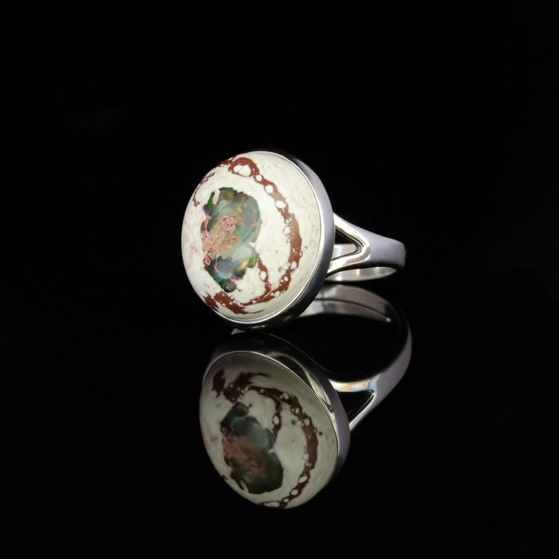 Birthday jewelry gift with birthstone october \u0421ocktail ring Mexican fire opal adjustable sterling silver ring for women or men