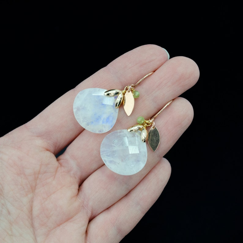 Custom personalized June birthstone earrings Gemstone earrings gold with rainbow white moonstone and peridot Jewelry gifts for women