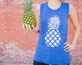 Party Like a Pineapple Workout Tank // Royal Blue, White // Yoga, Workout, Pilates, Barre // Graphic Tee
