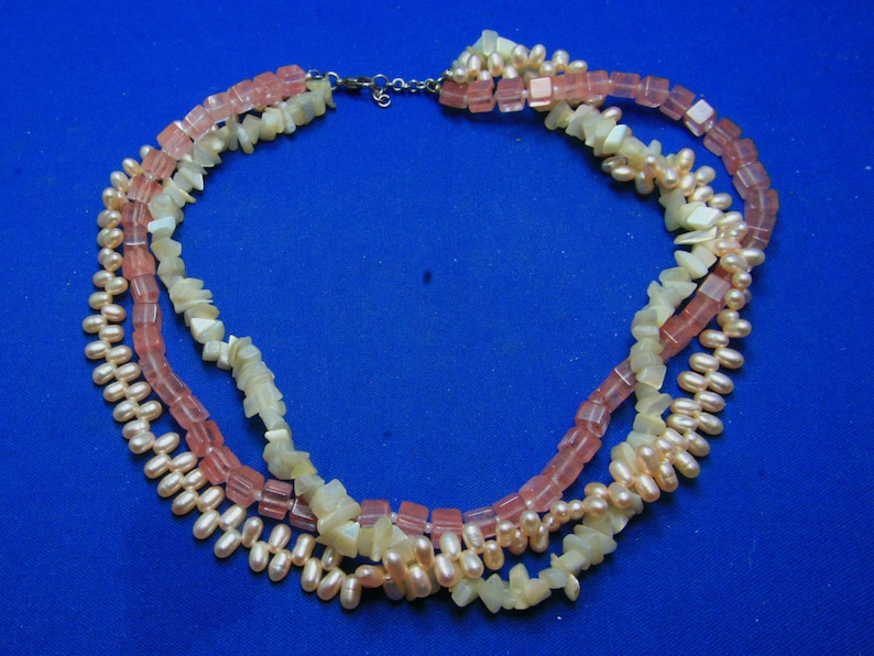 1549a4b854eda Vintage Rose Quartz, Mother of Pearl and Freshwater Rice Pearl Triple  Strand Necklace With 925 Sterling Clasp