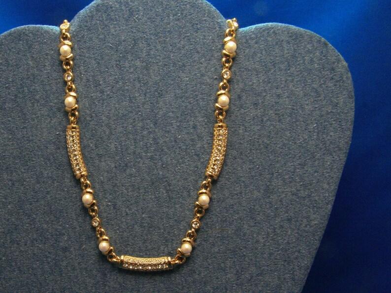 0f53e5c185fb Vintage Monet de diamantes de imitación imitación perla oro