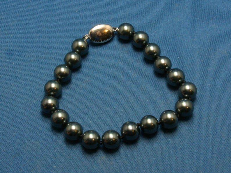 79cb009e4e49 Swarovski Vintage S.A.L. imitación negro perla anudada pulsera