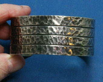 Vintage Hammered Mexican 925 Sterling Silver Three Lined Cuff Bracelet - Fabulous!