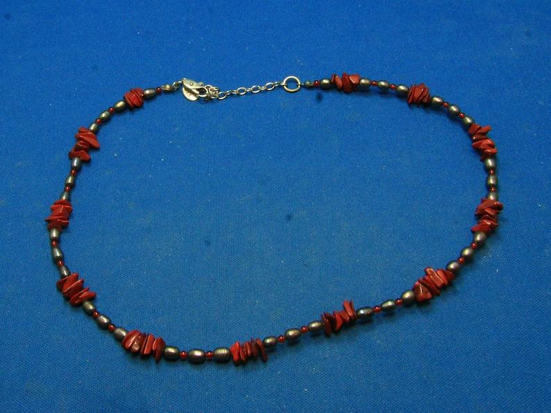 59b5045c966a Vintage Cheryl Reis perlas Keshi negro ajustable y Jasper