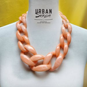 Fall Orange Red Translucent Resin Chunky Chain Lucite Link Housewife Resin Statement Necklace Additional Colors Offered