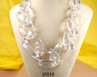 Transparent Clear White Chunky Link Oversize Necklace, Matt White Link Necklace, Statement Necklace, Bib Necklace, Bridesmaids Necklace