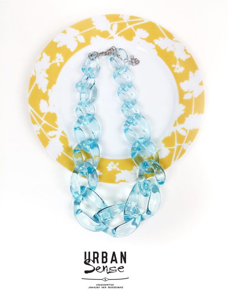 Transparent Blue Chunky Link Oversize Necklace Bridesmaids Necklace Statement Necklace Bib Necklace