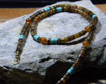 Turquoise Necklace, Native America Necklace, Bohemian Necklace, Womens Necklace, Boho, Tribal, Southwestern Necklace, Mens Beaded